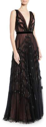 J. Mendel V-Neck Sleeveless Pleated Embellished Tulle Evening Gown