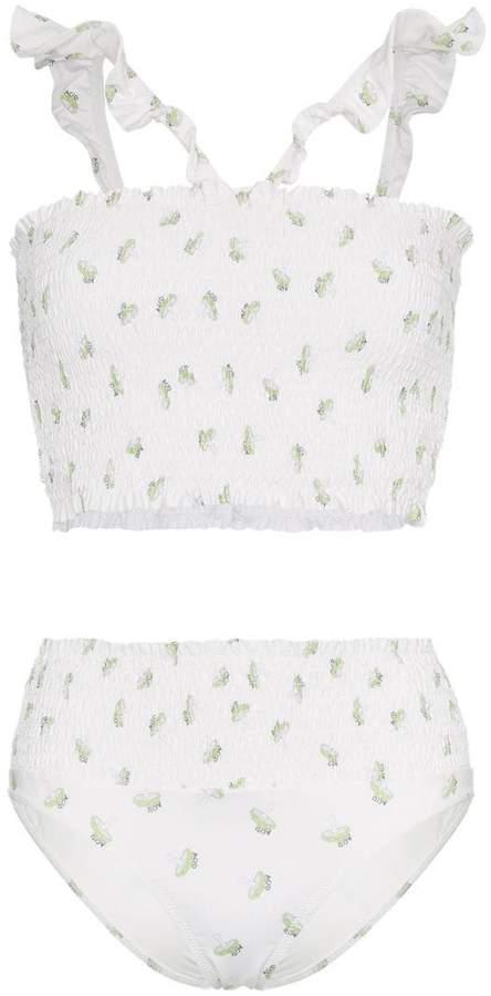 printed ruffle bikini set