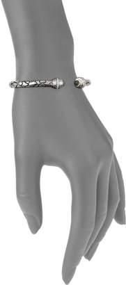 Charles Krypell Python Sterling Silver, 14K White Gold, Green Amethyst & Diamond Cuff Bracelet