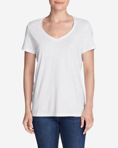 Women's Essential Slub Short-Sleeve V-Neck T-Shirt