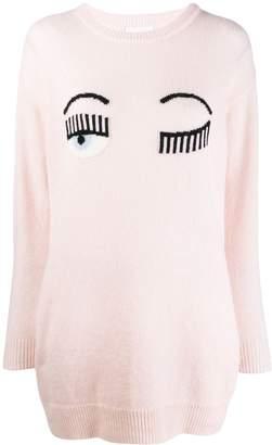 Chiara Ferragni winking knitted jumper