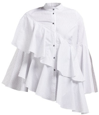 Osman Sunny Asymmetric Tiered Cotton Blouse - Womens - White Stripe
