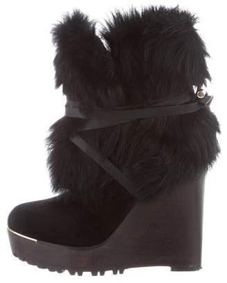 Rachel Zoe Faux Fur Wedge Boots