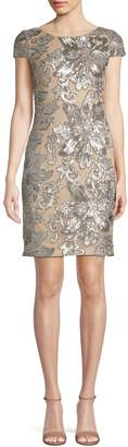 Calvin Klein Short Sleeve Floral Sequin Dress