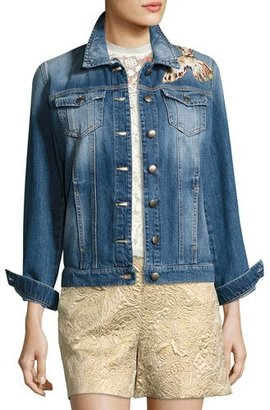 RED Valentino Hummingbird-Patch Denim Jacket $950 thestylecure.com