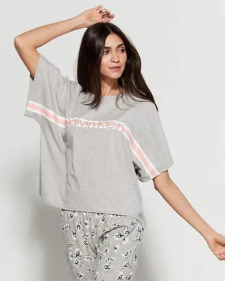 Calvin Klein Logo Stripe Crew Neck Dolman Tee