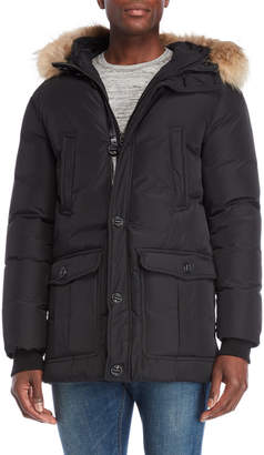 Mackage Black Real Fur Hooded Trim Down Jacket
