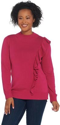 Joan Rivers Classics Collection Joan Rivers Cascading Ruffle Mock Neck Sweater