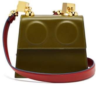Marni Marionette Leather Cross Body Bag - Womens - Khaki Multi