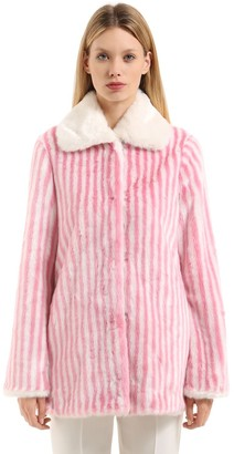 Marco De Vincenzo Striped Faux Fur Coat