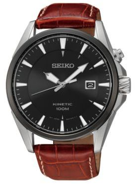 Seiko Kinetic Brown Leather Strap Watch