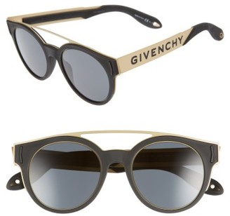 Women's Givenchy 50Mm Round Sunglasses - Black/ Gold $395 thestylecure.com