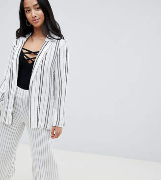 New Look Petite stripe soft blazer in white pattern