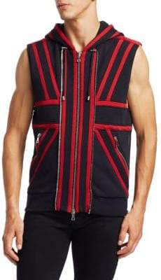 Balmain Men's Flocked Stripe Sleeveless Hoodie - Red Black - Size XXXL