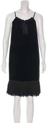 Diane von Furstenberg Fringe-Accented Velvet Dress