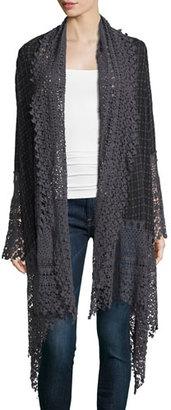 Johnny Was Antoinette Georgette Jacket w/ Crochet Trim $300 thestylecure.com
