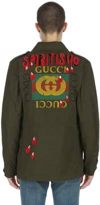 Gucci Patch Coated Cotton Canvas Field Jacket
