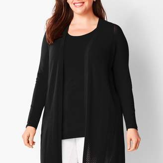 Talbots Long Pointelle No-Close Cardigan