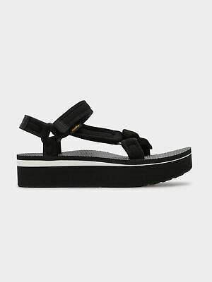 Teva New Womens Flatform Universal Sandals In Black Mesh Print Womens