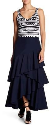 Alice + Olivia Martina Ruffle Hi-Lo Maxi Skirt