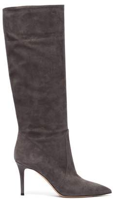 Gianvito Rossi Slouchy 85 Knee High Suede Boots - Womens - Grey