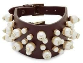 Valentino Leather & Faux Pearl Studded Rubin Bangle