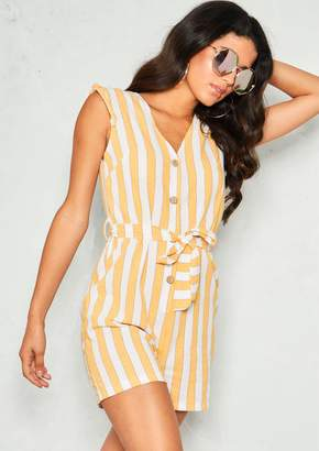 5d15f5142b1f Missy Empire Missyempire Renea Yellow Stripe Belted Button Playsuit