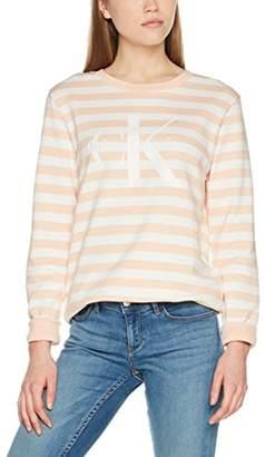 Calvin Klein Jeans Women's True Icon Cn HWK L/s Stripe Sweatshirt, Pink (Cream Tan/Egret 902), Large