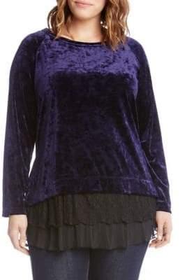 Karen Kane Plus Plus Lace Detail Velvet Sweatshirt