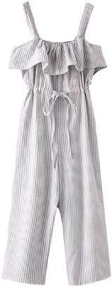 Goodnight Macaroon 'Bessie' Peplum Ruffle Tied Waist Striped Jumpsuit