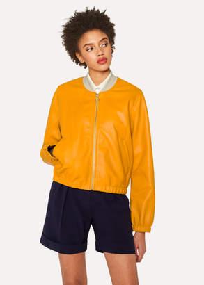 Paul Smith Women's Burnt Yellow Leather Bomber Jacket