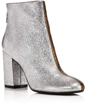 Kenneth Cole Cassandra Leather Two-Tone Metallic Block Heel Booties - 100% Exclusive $170 thestylecure.com