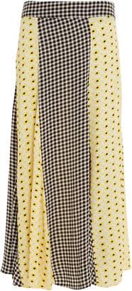 Ganni Mixed Print Crepe Skirt