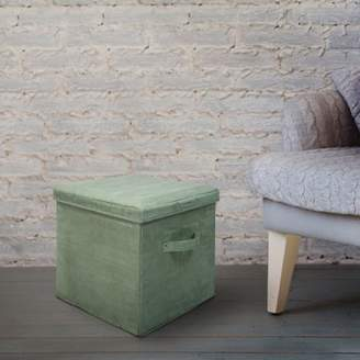 Laurèl Casual Home Seat Pad Folding Storage Ottoman. Micro Suede Cover Green