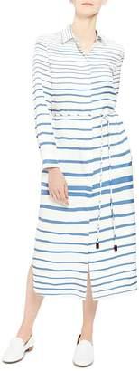 Theory Striped-Silk Shirt Dress