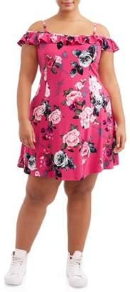 Eye Candy Juniors' Plus Cold Shoulder Ruffle Cold Shoulder Skater Dress