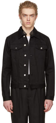 Alexander McQueen Black Leather Trim Denim Jacket