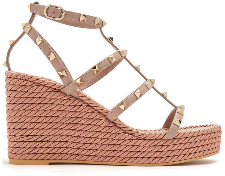 VALENTINO Torchon Rockstud leather wedge sandals