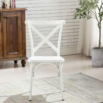 Famis Corp White Cross Back Metal Industrial Modern Vintage Farmhouse Dining Chair, Set Of 2 Famis Corp