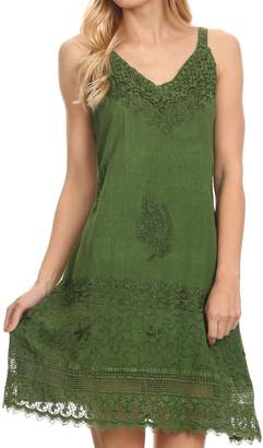 Sakkas 1107 - Ameelynn Short Embroidered Batik Festival Sleeveless Spaghetti Strap Dress
