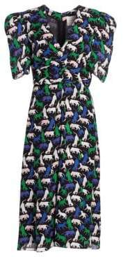 Carolina Herrera Printed Silk Puff-Sleeve Midi Dress