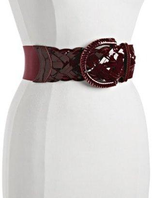Motif 56 red patent detail 'Zara' stretch belt