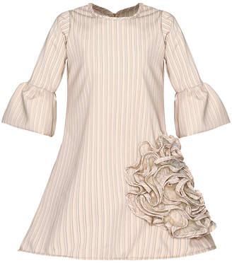 Mia Belle Girls Bell Sleeve Side Ruffled Flower Dress