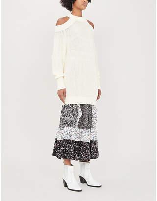 Free People Half Moon Bay cold-shoulder cotton-knit jumper