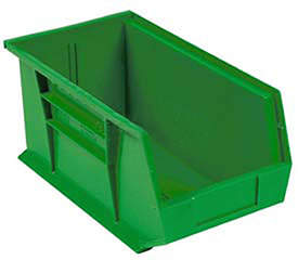 Quantum Storage Systems Plastic Stacking Bin 5-1/2 x 14-3/4 x 5, Green, Lot of 12