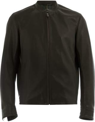 Ajmone collarless biker jacket