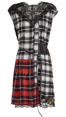 Marc Jacobs Silk Plaid Dress with Lace
