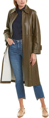 Vince Double-Face Leather Trench Coat