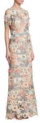 Marchesa Cold-Shoulder Floral Gown