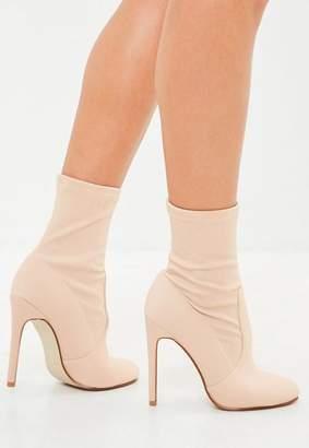 Missguided Nude Round Toe Stiletto Heel Boots